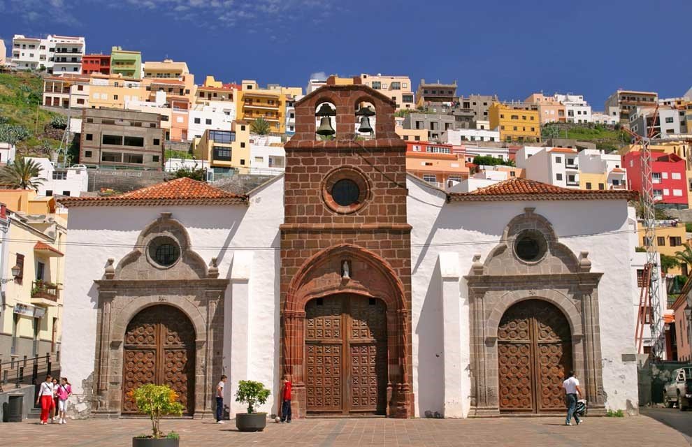 Church Of Our Lady Of The Assumption And The City In La Gomera